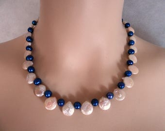 Necklace made with Champagne Coin Pearls & blue round Freshwater Pearls