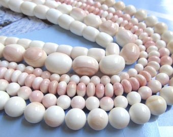 8mm Pink Shell Beads, Queen Conch Shell, Natural Blush MOP, Pink Mother of Pearl Beads, Assorted Round Shell Beads