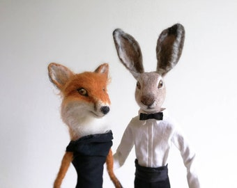 Art doll, art doll collection, sculpture needle felted doll couple Fox and rabbit.