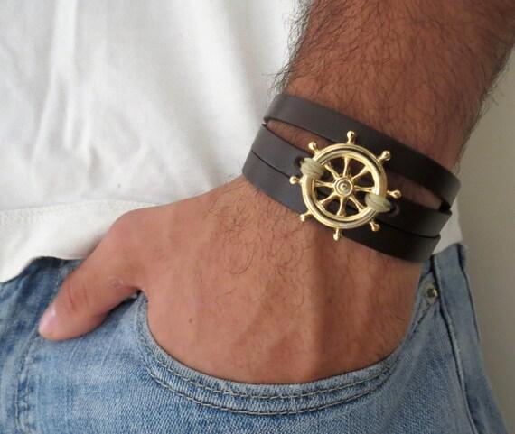 Herren armband leder gold