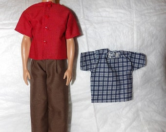 Brown pants, red shirt and blue & white checked shirt set for male Fashion Dolls - kdc94