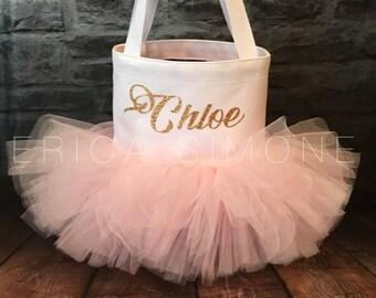 White Tutu Bag with Gold Glitter Monogram - Tote Bag - Embroidered bag - Tutu bag - Ballet Bag - Birthday Bag - Gifts for Girls