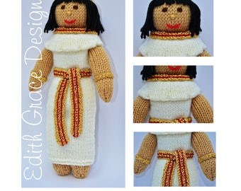 Doll Knitting Pattern - Egyptian Doll - Toy Knitting Pattern - Amigurumi Doll - Doll Making - Knit Doll - Egyptian Costume - Yarn Doll