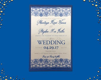 Gorgeous Silver Shimmer and Navy Layered Invitations Wedding Invitation Sets Custom Wedding Invitation Set