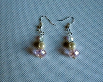 Dangling pink crystal earrings. Bling earrings. Glass pearl and Czech crystal dangling earrings for pierced ears.