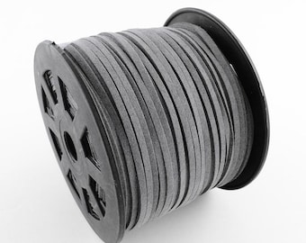 3mm flat faux suede leather cord,Light gray,3X1.5mm,1-5yards