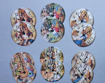 Alice CLOCKS- Set of 12 Round STICKERS (or CARDSTOCK) for Alice cupcake toppers, collage banners Alice in Wonderland cupcake toppers picks