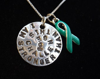 I am Stronger than this Challenge necklace, Ovarian Cancer Awareness necklace, Teal Cancer awareness ribbon, Ovarian Cancer jewelry