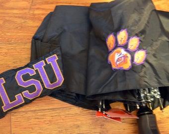 LSU Tiger Eye embroidered on a black umbrella