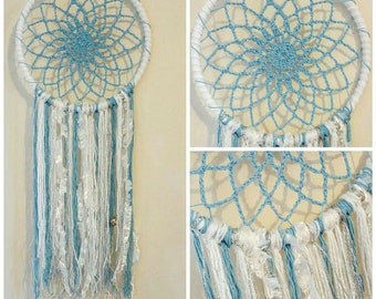 Blue, White and Silver Crochet Dream Catcher wall hanging