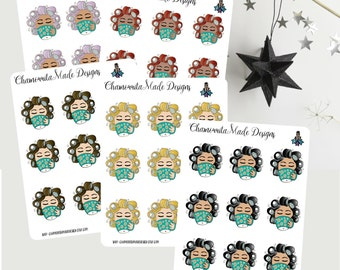 Coffee and Curlers Planner Stickers | Coffee Mini Sheet | Curlers Mini Sheet | Happy Planner | Planner Stickers | Color Crush | Filofax