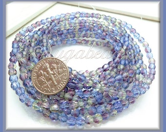 50 Faceted Blue Czech Glass Beads 4mm, Fire Polished Czech Beads, Light Sapphire Purple Beads, CZN13