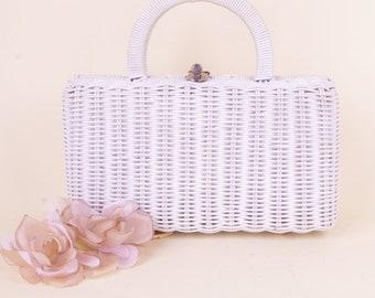 Vtg White Wicker 50/60s Handbag Fifties Sixties Rockabilly Purse