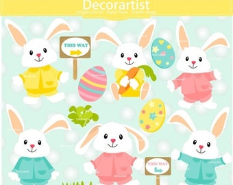 ON SALE Easter clipart, white bunny clipart, easter egg hunt clipart, easter day clipart, white rabbit clipart, INSTANT Download