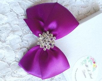 Violet Satin Hair Bow with Rhinestone Center, Violet Flower Girl Hair Bow, Hair Bow, Pageant Hair Bows, Christmas Hair Bow, Sparkle Bow