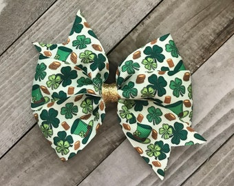 St Patricks Day Pinwheel Bow