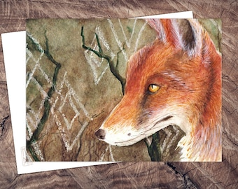Wald & Fuchs-postcard illustration watercolor A6, print on recycled paper, eco, climate neutral