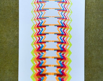 5-color Abstract Arrows Letterpress Print