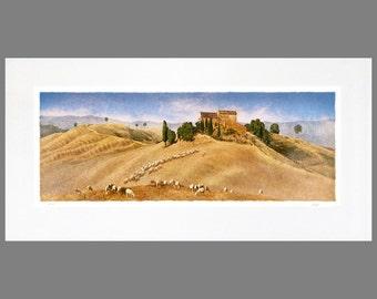 Alle toskanischen 16 x 32 verfilzt Panorama Fine Art Print (Le Crete gezeigt)