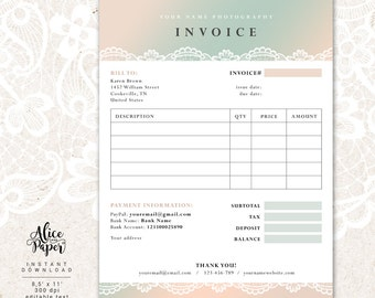 Photography invoice | Etsy