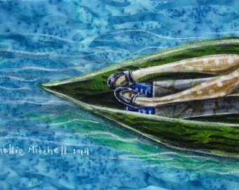 Drifting, river house decor, in a boat, blue waters, anniversary gift, wedding gift, shellieartist, home decor, 8.5 x 11 archival print