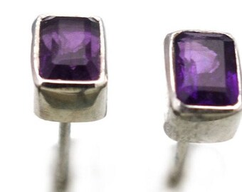 Amethyst Post Earrings in Sterling Silver Bezel Setting