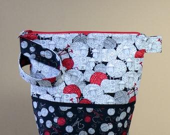 Black & White sheep with Red Yarn Zipper bag