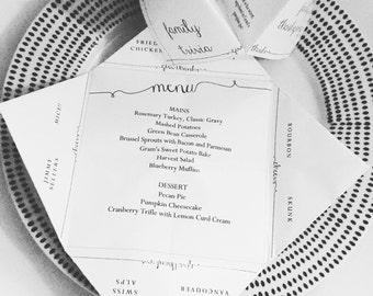 DIY Customizable Printable Thanksgiving Menu - Cootie Catcher/Fortune Teller (Edit Yourself Immediately!)