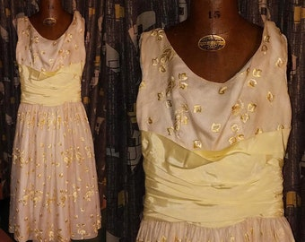 Vintage 1960's Spring Cotillon 60's Floral Yellow Linen Satin Sash Sheer Womens Party Dress - S