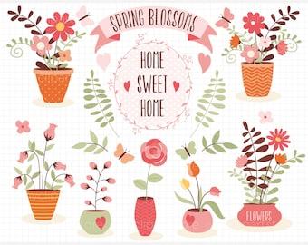 Clipart - Home Sweet Home / Mother's Day Flower Pots & Vases - Digital Clip Art (Instant Download)