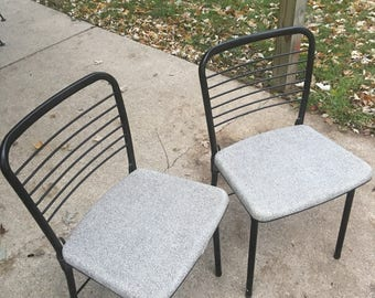 Vintage cosco chair, matching folding chairs, two vintage folding chairs, black and gray folding chair