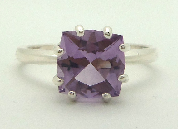 1.95 Carat Purple Amethyst Gemstone Ring Size 7 Sterling Silver Hand Cut Gem