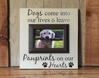 Picture frame for dogs-gift for pet lovers-4x6-Pawprints on our hearts-pet picture frame-personalized dog picture frames-dog frame