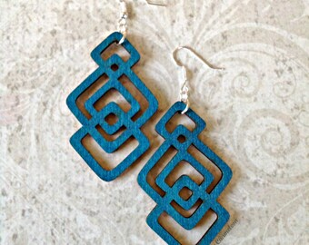 Stacked Diamond Wood Earrings in Dark Turquoise Boho African Tichel Accessory Large Wooden Lightweight Earrings Ankara Wrap Accessory
