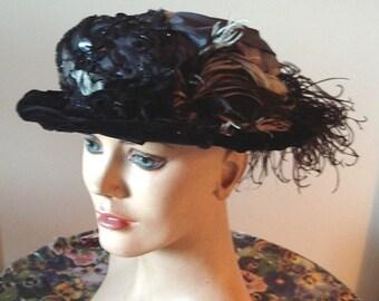 All Original Edwardian Era Hat Draped Satin/Black Velvet Ostrich/Bead Trim  Item #825  Hats