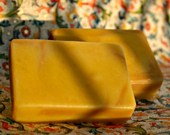 Yellow Velvet, Yellow Clay Soap, Carrot Juice Soap, Luxury Spa Bar, Mature Skin Soap, Wedding Gift, Made in Ireland, Art Soap