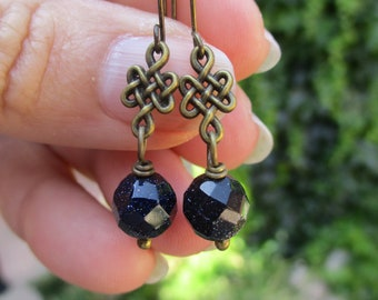 Brass Eternal Knot and Sparkling Blue Goldstone Earrings - Celtic Earrings - Asian Earrings - Hippie Earrings