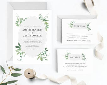 Botanical Wedding Invitation Suite, Wedding Invitation Printable, Invitation Set, Wedding Invitation Rustic, Letter or A4 (Item code: P701)