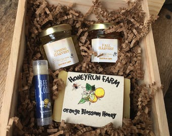 Wooden Box Gift Package -2 jars Honey, Orange Blossom Honey Soap, and Lip Balm