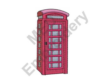 Phone Booth - Machine Embroidery Design, British Phone Booth