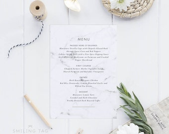 Printable Wedding Menu Printable - Modern Chic Marble Wedding Menu Download - Printable Menu PDF - Letter or A4 Size (Item code: P457)