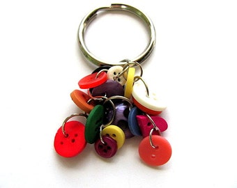 Rainbow Button Key Chain Ring FREE US Shipping