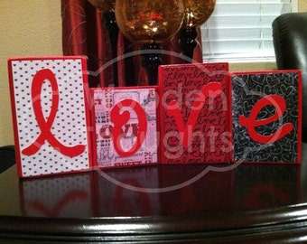 Valentine's Day blocks - love