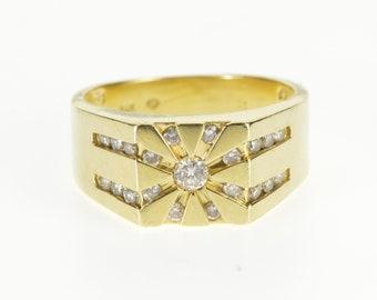 14K 0.70 Ctw Diamond Channel Sun Burst Design Ring Size 7.5 Yellow Gold