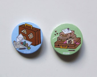 Vintage Suitcase Badge or Magnetic - 38mm Small Pin - Illustration - Pinback Button - Travel