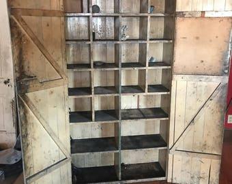 Antique beadboard storage cabinet