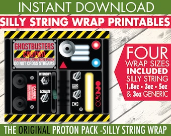 Ghost-busters Silly String Portable Proton Pack Label - Ghost-buster Birthday Party - Silly String Label | INSTANT Download PDF Printables