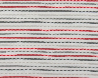 Cotton Quilt Fabric Chain Stripe White Red Gray Waverly By The Half Yard