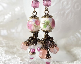 Antique Romance Floral Garden Earrings-Handmade-Pink-Flowers-Antique Brass- Romantic-Antique Style-Vintage Inspired