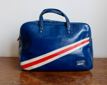 1960s Retro Mod Red White Blue Traveling Bag, Carryon, Duffle Bag, Travel Bag, Bowling Bag, Mid Century, MCM, Carrying Case